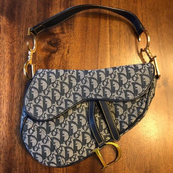 Dior Bags   Authentic Saddle Bag Denim   Poshmark 8aa8b3bab0